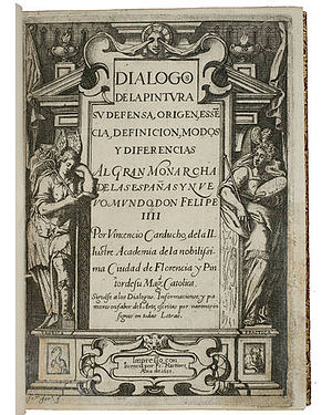 Francisco Fernández (artist) - Titlepage of the Dialogos de la Pintura by Carducci, illustrated by Fernández