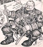 """Caricature of Hermann Göring detail with text of """"Gestapo reports 2,000,000 Jews executed- Heil Hitler"""" by Arthur Szyk (1894-1951). We're Running Short of Jews (1943), New York (cropped).jpg"""