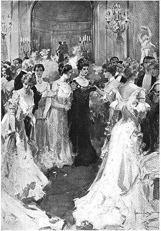 High society (social class) - Caroline Astor and her guests, drawing, 1902