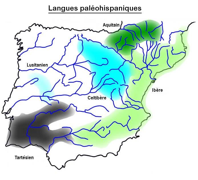 Carte des langues paléohispaniques