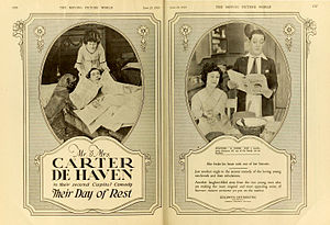 Carter DeHaven - Carter and Flora Parker DeHaven in an advertisement for their film  Their Day of Rest (1919)