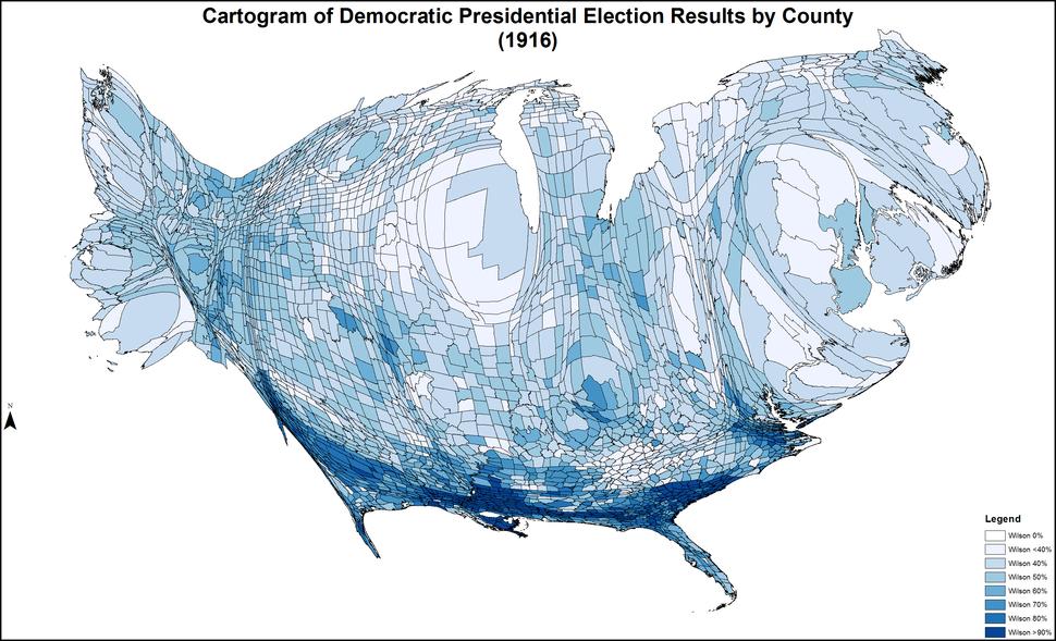 CartogramDemocraticPresidentialCounty1916Colorbrewer