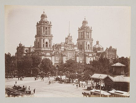 The Cathedral of Mexico City (1897) is the largest cathedral in Spanish America, built on the ruins of the Aztec main square. Cathedral, City of Mexico. (15719792402).jpg