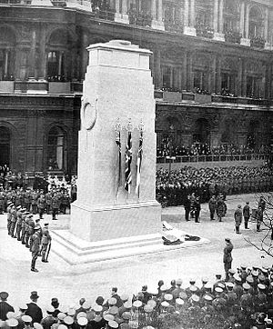 The Cenotaph, Whitehall - The unveiling ceremony on 11 November 1920.