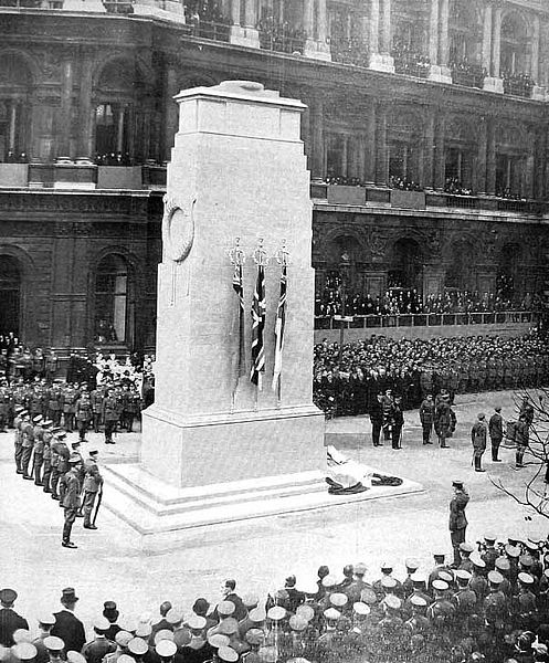 The unveiling ceremony on 11 November 1920. Image from http://en.wikipedia.org/wiki/File:Cenotaph_Unveiling,_1920.jpg