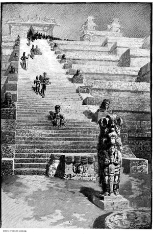 K'ak' Yipyaj Chan K'awiil - An old recounstruction drawing of the hyrogyphic stairway