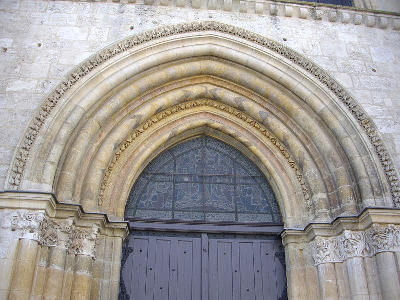 Notre-Dame-en-Vaux collegiate church in Châlons-en-Champagne (Marne, France): tympanum on facade