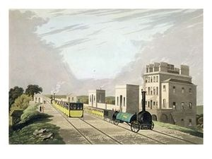 Earlestown railway station - The Manchester and Liverpool Railway at Newton, by Charles Calvert