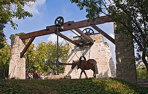 Working animal - The horse-drawn winch of a former limestone quarry (France)