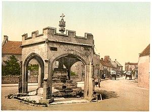 Market Cross, Cheddar - Photochrom of Cheddar Market Cross in the 1890s