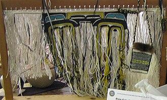 Chilkat weaving - Beginning of a Chilkat blanket, woven by Elsie Gale Stewart-Burton (Haida), Ketchikan, Alaska