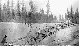 History of Chinese immigration to Canada - Chinese labourers working on the Canadian Pacific Railway mile sections of the Canadian Pacific Railway from the Pacific to Craigellachie in the Eagle Pass in British Columbia.  The railway from Vancouver to Craigellachie consisted of 28 such sections, only 2% of which were constructed by workers of European origin.