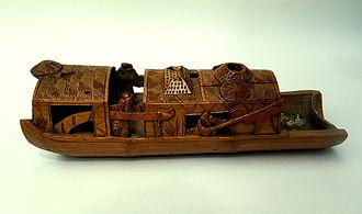Altorilievo cinese di una barca in bambù, risalente alla tarda Dinastia Qing.