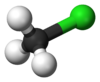 Ball and stick model of chloromethane