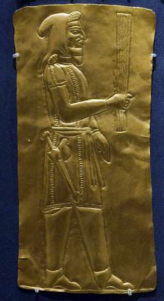 Barsom - A 4th-century BCE depiction of a priest bearing a barsom. From the Oxus Treasure. The present-day barsom is much shorter, and made of wire.