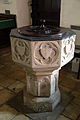 Church of St Christopher, Willingale, Essex, England - interior font.JPG