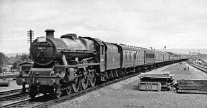 Churchdown railway station - 'Jubilee' Class 4-6-0 'Leander' passing Churchdown in 1960