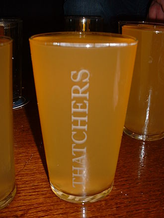 Thatchers Cider - Thatchers traditional dry draught cider in a pint glass, as served in a pub