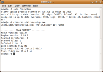 Antivirus software - The command-line virus scanner of Clam AV 0.95.2, an open source antivirus originally developed by Tomasz Kojm in 2001. Here running a virus signature definition update, scanning a file and identifying a Trojan.