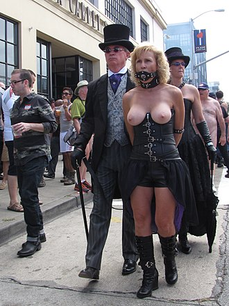 Animal roleplay - A penis-gagged woman is publicly humiliated by being paraded topless at Folsom Street Fair. She is held in bondage using a dog leash, one end of which is held by her master. This suggests she is sexually roleplaying his pet.