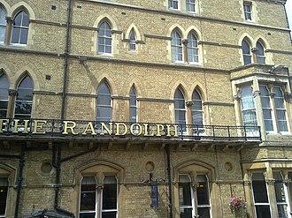 Macdonald Randolph Hotel - A close up of the exterior of the hotel facing Magdalen Street.