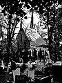 Cmentarz Mater Dolorosa - kaplica cmentarna bw.JPG