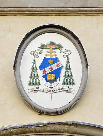Giuseppe Betori - The coat of arms of H.E. Mgr Giuseppe Betori, as archbishop of Florence before his elevation to Cardinal, as seen on the façade of the Palazzo arcivescovile