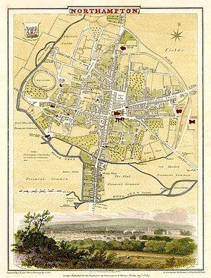 River Nene - Cole-Roper 1810 map of Northampton