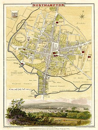 River Nene - Cole-Roper 1810 map of Northampton