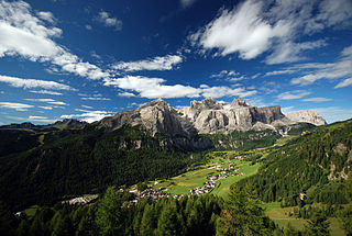 Sella group mountain range in the Dolomites
