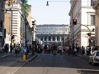 Colloseum through the city street.jpg