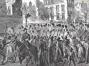 55th Massachusetts Infantry Regiment - Lieutenant Colonel Charles B. Fox leads the 55th Massachusetts into Charleston, South Carolina, February 21, 1865