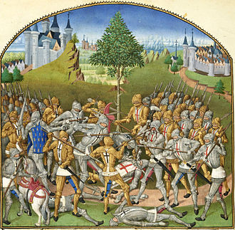 Combat of the Thirty - Combat des Trente: an illumination in the Compillation des cronicques et ystoires des Bretons (1480), of Pierre Le Baud. The two strongholds of Ploërmel and Josselin are fancifully depicted  within sight of each other.