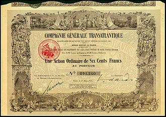 Compagnie Générale Transatlantique - Share of the Compagnie Générale Transatlantique, issued 1. March 1927