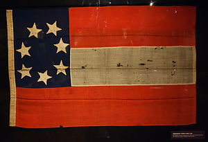 "Flags of the Confederate States of America - A Confederate ""Stars and Bars"" flag, captured by soldiers of the Union Army at Columbia, South Carolina."