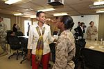 Congresswoman Donna Edwards of Maryland speaks with Marine Sgt. Amber Chavarria during a congressional trip to Kandahar, Afghanistan, 2010.jpg