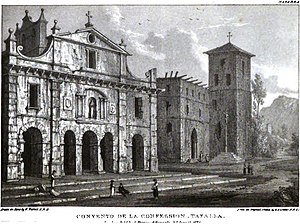 Tafalla - Convento de la Confession (Convent of the Concepcionistas Recoletas) (to the right) in Tafalla by Edward Hawke Locker in 1824, published in the work Views in Spain