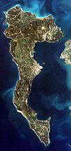 Corfú visto desde la EEI en 2001
