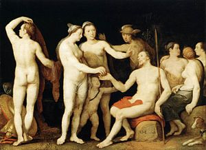 1628 in art - Image: Cornelis Cornelisz. van Haarlem The Judgment of Paris WGA05252