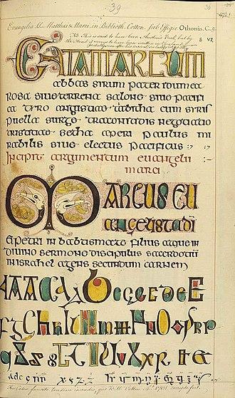Otho-Corpus Gospels - Image: Cotton Corpus Gospel Frag Fol 25v Facsimile
