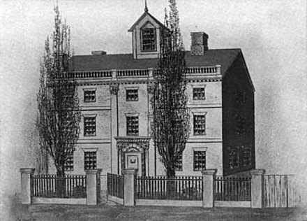 Mather lived on Hanover Street, Boston, 1688-1718 CottonMather house HanoverSt Boston.png