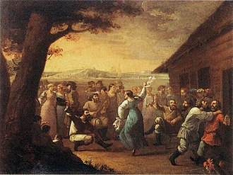1790 in Russia - Country feast by anonymous (I.M.Tankov), 1790s (Russian museum)