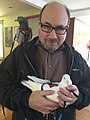 Craig Newmark & rescued pigeons Amelio & Pat 030515 by Elizabeth Young IMG 9372.jpg