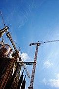 Cranes working on Sagrada Familia