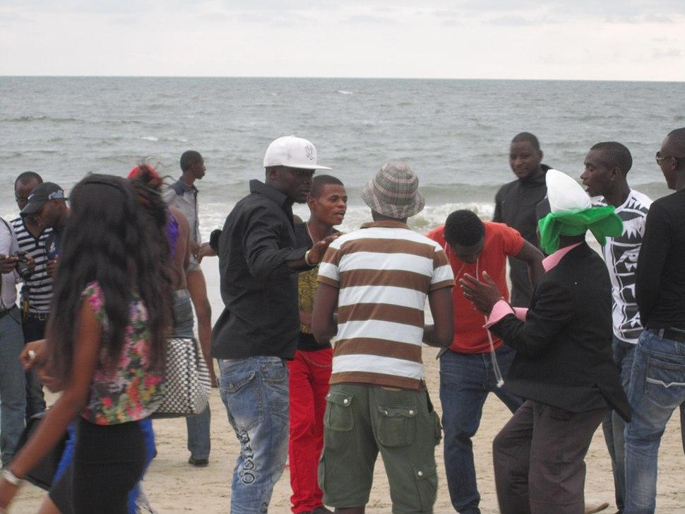 Crowd on Beach in Gabon