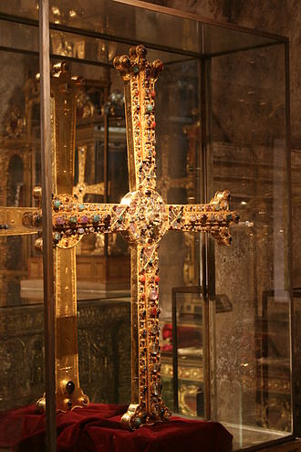 Victory Cross - Display of the Cross in the Cámara Santa of Oviedo.