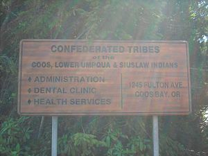 Coquille Indian Tribe - Sign of The Confederated Tribes