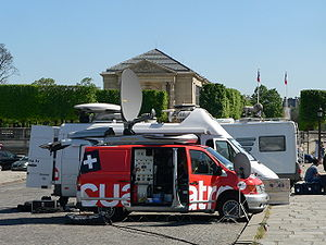 Cuatro (TV channel) - Cuatro mobile unit in Paris.