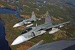 Czech Saab Gripens flying to Ronneby.jpg