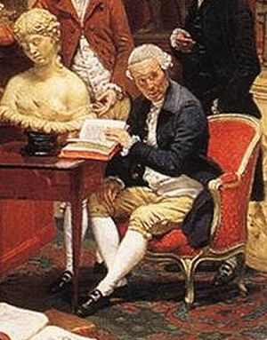 """Pierre-François Hugues d'Hancarville - d'Hancarville by Zoffany, detail from """"Charles Townley's Library"""" (circa 1782)."""